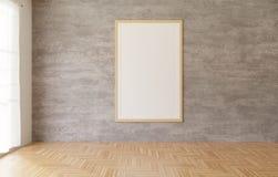 weißes Plakat der Wiedergabe 3d und Rahmen, die am Betonmauerhintergrund im Raum, Bretterboden, weißer Vorhang hängt lizenzfreie abbildung