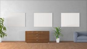 Weißes Plakat mit leerem Rahmenmodell Stockfotografie