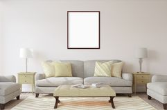 Weißes Plakat mit leerem Rahmenmodell Stockbilder