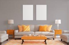 Weißes Plakat mit leerem Rahmenmodell Lizenzfreies Stockbild