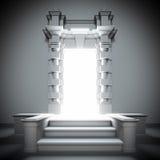 Weißes Portal zur Zukunft mit heller Leuchte. Stockbilder