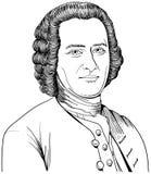 Weißes Porträt Jean Jacques Rousseau-Schwarzen, Vektor vektor abbildung