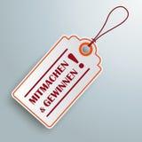 Weißes Preis-Aufkleber Mitmachen-und Gewinnen Stockfotos