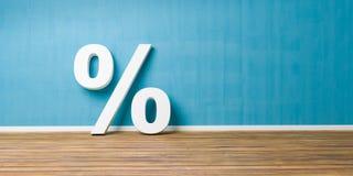 Weißes Prozent-Zeichen auf Brown-Bretterboden gegen blaue Wand - Verkaufs-Konzept - Illustration 3D Lizenzfreie Stockfotos