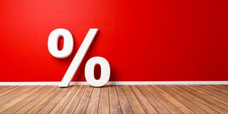 Weißes Prozent-Zeichen auf Brown-Bretterboden gegen rote Wand - Verkaufs-Konzept - Illustration 3D Lizenzfreie Stockbilder