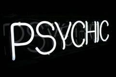 Weißes psychisches Neonzeichen 1 Stockbilder