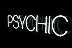 Weißes psychisches Neonzeichen 2 Lizenzfreie Stockfotografie