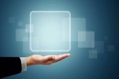 Weißes Quadrat des Feldes über der Geschäftshand lizenzfreie abbildung