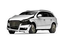 Weißes ruiniertes Auto in einem Unfall Lizenzfreie Stockfotografie