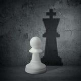 Weißes Schachpfand mit Schattenkönigin Stockfotografie