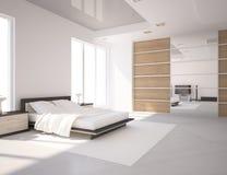Weißes Schlafzimmer Stockfoto