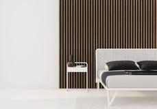 Weißes Schlafzimmer mit hölzernen Latten auf der Wand lizenzfreie abbildung