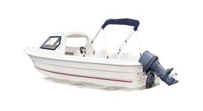 Weißes Schnellboot lokalisierter Hintergrund Lizenzfreies Stockfoto