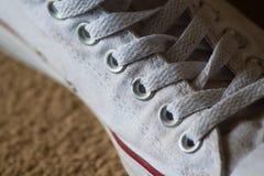 Weißes Schuh-Detail Stockfoto