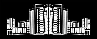 Weißes Schwarzes eps10 der Gebäudearchitekturnachtvektor-Illustration Stockbild
