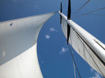 Weißes Segel gegen blauen Himmel Stockfotografie