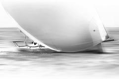 Weißes Segelboot mit dem Spinnaker, der Geschwindigkeit nimmt Stockfoto