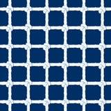 Weißes Seil mit nahtlosem Muster der Knoten auf Marineblauhintergrund Endlose gestreifte Marineillustration mit Schleifenverzieru stock abbildung