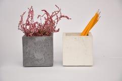 Weißes Silber des Betonwürfelpflanzers lizenzfreie stockbilder