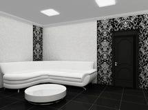 Weißes Sofa im stilvollen Innenraum mit Dekor Lizenzfreies Stockbild