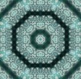 Weißes Spitzemuster auf Smaragdgrünhintergrund Stockfotografie