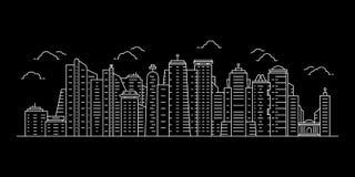 Wei?es Stadtbild mit d?nner Linie Wolkenkratzer vektor abbildung