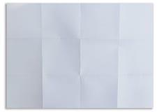 Weißes strukturiertes Blatt Papier faltete sich in sechzehn lokalisiert Stockfoto