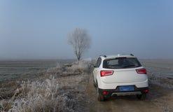 Weißes SUV in der Landstraße lizenzfreies stockbild
