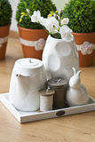 Weißes Tee-Set Stockbilder