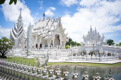Weißes Tempel-Gebäude, Chiang Rai, Thailand lizenzfreies stockfoto