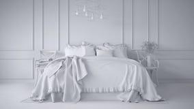 Weißes totalprojekt des klassischen Schlafzimmers der Weinlese mit weichem Bett voll von Kissen und von Decken, weiße geformte Wa vektor abbildung