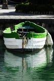 Weißes und grünes Boot Stockfotografie