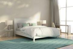 Weißes und grünes Luxusschlafzimmer Stockfotografie