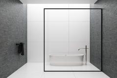 Weißes und graues Badezimmer, runde Wanne lizenzfreie abbildung