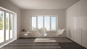 Weißes und graues minimales Wohnzimmer mit Lehnsesselteppich, Parkettboden und panoramischem Fenster, skandinavische Architektur lizenzfreie stockbilder