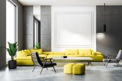 Weißes und graues Wohnzimmer, gelbes Sofa vektor abbildung
