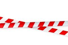 Weißes und rotes warnendes Klebeband Stockbild
