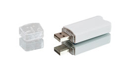 Weißes USB-Blinken Laufwerk Lizenzfreie Stockbilder