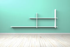 Weißes weißes Regal des leeren hellgrünen Innenraumes Lizenzfreie Stockfotos