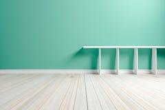 Weißes weißes Regal des leeren hellgrünen Innenraumes und hölzernes flo Lizenzfreies Stockbild
