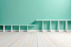 Weißes weißes Regal des leeren hellgrünen Innenraumes und hölzernes flo Lizenzfreies Stockfoto
