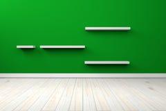 Weißes weißes Regal und Bretterboden des leeren grünen Innenraumes Lizenzfreie Stockfotografie