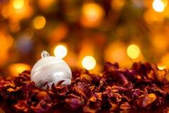 Weißes Weihnachtsball auf trockenen Blättern Stockbild