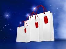 Weißes WeihnachtsEinkaufstasche Lizenzfreie Stockfotografie