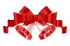 Weißes Weihnachtsglocken mit rotem Farbband stock abbildung