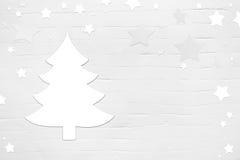 Weißes Weihnachtshintergrund mit Baum und Sterne in schäbigem Chicst. stockfotografie