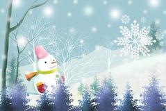 Weißes Weihnachtshintergrund mit nettem Schneemann - grafische Beschaffenheit von Malereitechniken Lizenzfreie Stockfotos