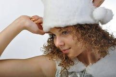Weißes Wintermädchen Lizenzfreies Stockfoto