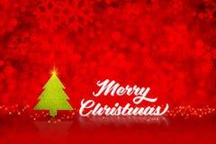 Weißes Wort der frohen Weihnachten und Weihnachtsbaum mit funkelndem Anfangsli stock abbildung