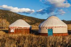 Weißes Yurt - Nomade ` s Zelt ist die nationale Wohnung von Kasachstan-Leuten lizenzfreies stockbild